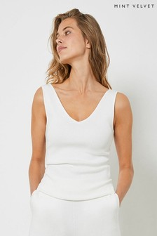 Mint Velvet Off-White Rib Knitted Vest Top
