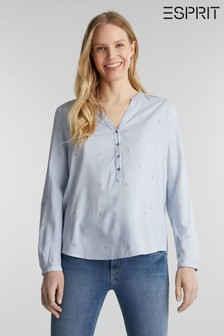 Esprit Blue Woven With Print Long Sleeved Blouse