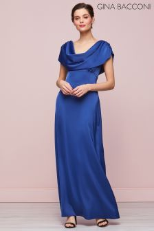 Gina Bacconi Navy Aurora Satin Maxi Dress