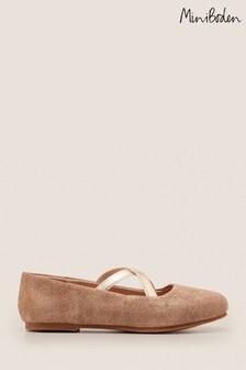 Złote, połyskujące, buty na płaskiej podeszwie Boden Party Ballet