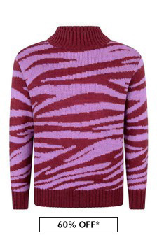 Molo Girls Pink Zebra Wool Jumper