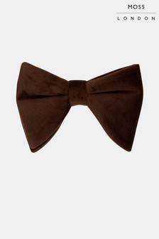 Moss London Brown Velvet Floppy Bow Tie
