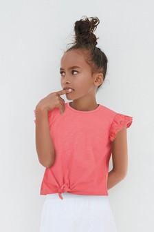 Broderie Ruffle Tie Front Top (3-16yrs)