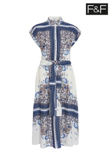 F&F Blue Scarf Print Dress