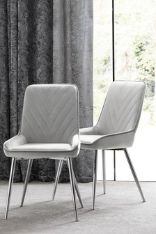 Set of 2 Zayn Dining Chairs With Chrome Legs