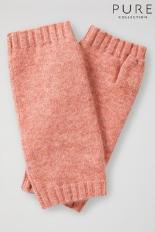 Pure Collection Pink Cashmere Mitts