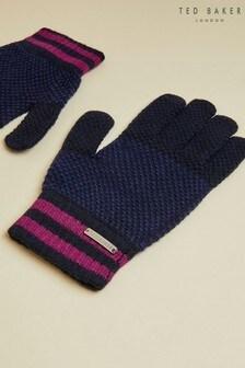 Ted Baker Blue Rushglo Birdseye Merino Blend Gloves