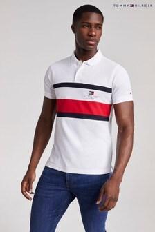Tommy Hilfiger White Chest Stripe Slim Polo