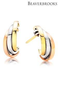 Beaverbrooks 9ct Three Colour Gold Earrings