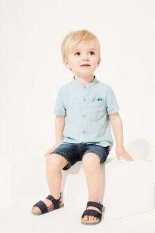 Short Sleeve Linen Mix Grandad Collar Shirt (3mths-7yrs)