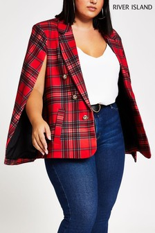 River Island Curve Red Tartan Ponti Alice Cape