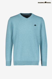 Raging Bull Blue V-Neck Cotton/Cashmere Sweater