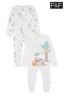 F&F Winnie The Pooh Sleepsuits Two Pack