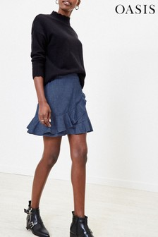 Oasis Blue Chambray Ruffle Mini Skirt