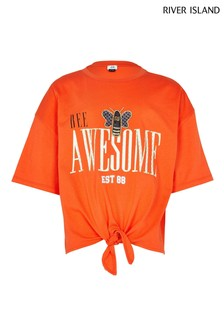 River Island Orange Tie Front Bee T-Shirt