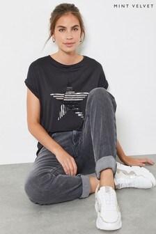 Mint Velvet Grey Sequined Star T-Shirt