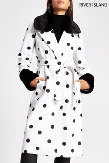River Island White Spot Faux Fur Cuff Robe Polka Dot Coat