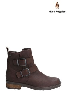 Hush Puppies Brown Bea Buckle Biker Boots