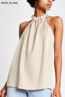 River Island Cross Neck Halter Neck Top