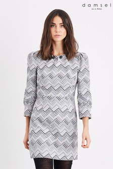 Damsel In A Dress Grey Vesta Button Dress
