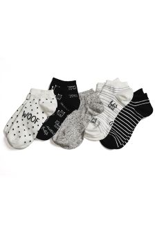 Dog Pattern Trainer Socks Five Pack