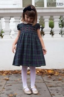 Trotters London Navy Charlotte Smocked Tartan Dress