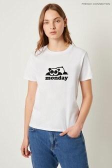French Connection White Panda Monday Tee