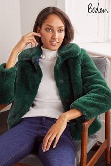 Boden Green Elsted Faux Fur Jacket