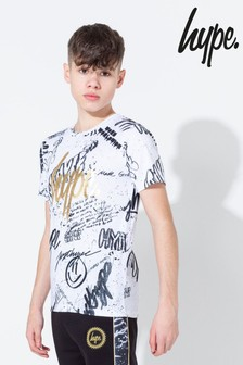 Hype. White Graffiti Gold Foil Print T-Shirt
