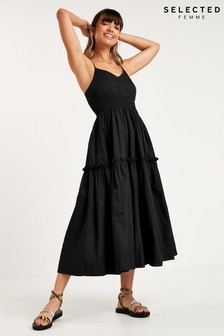Selected Femme Black Strappy Tiered Carlotta Dress