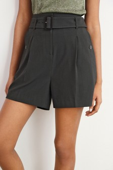 Textured Belted Shorts