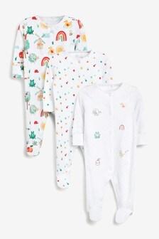 3 Pack Appliqué Sleepsuits (0-2yrs)
