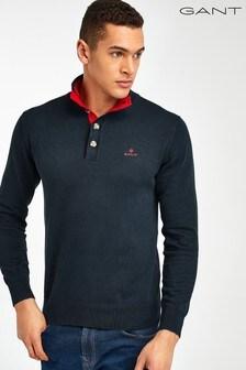 GANT Blue Sporty Mock Neck Sweater