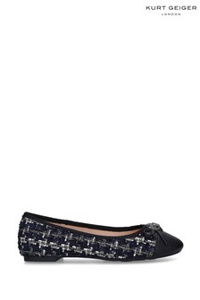 Kurt Geiger Ladies Esme Navy Fabric Ballerinas