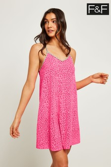 F&F Pink Hot Burnout Beach Dress