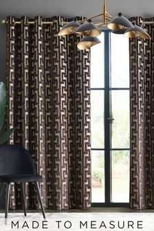 Luxe Fretwork Velvet Brown Made To Measure Curtains