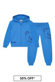 Boys Blue Cotton Tracksuit