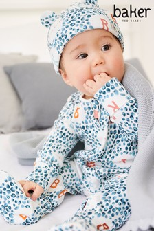 Baker by Ted Baker Printed Sleepsuit and Hat Set