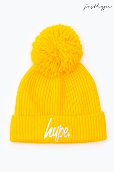 Hype. Yellow Knit Ribbed Bobble Beanie