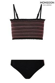 Monsoon Black Shirred Bikini Set