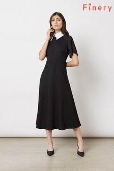 Finery London Black Kalina With Shirt Collar Dress