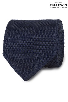 T.M. Lewin Navy Knitted Silk Tie
