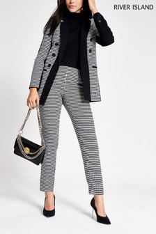 River Island Dogtooth Blocked Cigarette Trousers