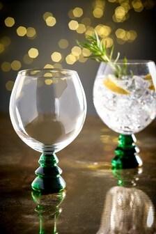Set of 2 Christmas Tree Gin Glasses