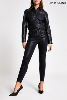 River Island Black Coated Molly Cobra Jeans