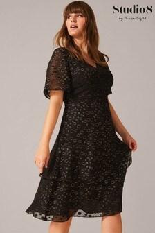 Studio 8 Black Sammy Foil Spot Dress