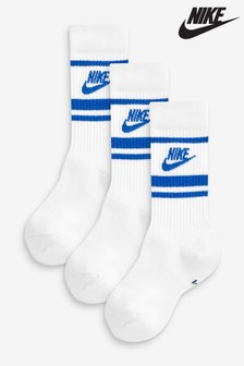 Nike White/Blue Crew Socks 3 Pack