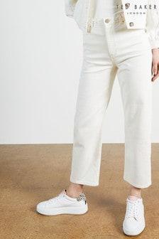 Ted Baker White Platel Plaited Waistband Straight Leg Jeans