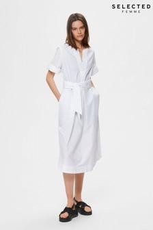Selected Femme White Carlotta Kaftan Midi Dress