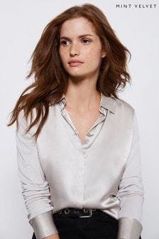 Mint Velvet Beige Silk Satin Front Shirt